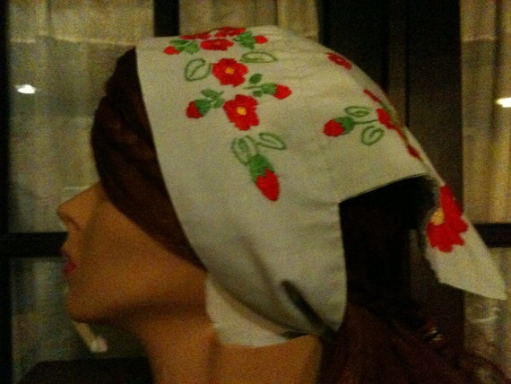 Vintage Gray Bandana with Embroidered Pink Flowers