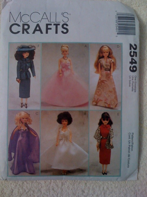 McCalls Crafts 2549 90s Fashion Doll Pattern Partially Cut Sale