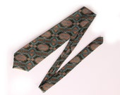Polyester Wide Tie - 70s Double Knit Green Orange and Turquoise Tie