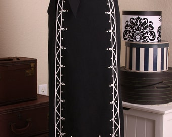 Vintage Maxi Skirt - 70s Joyce Long Skirt - Black with White Trim Studs - Slim, Long & Lean - Classy, Chic, Stunning, Long Elegant Dressy