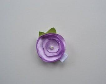 Lilac satin flower hair clip