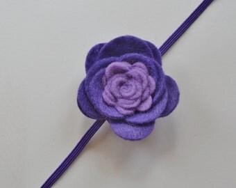 Purple felt flower headband