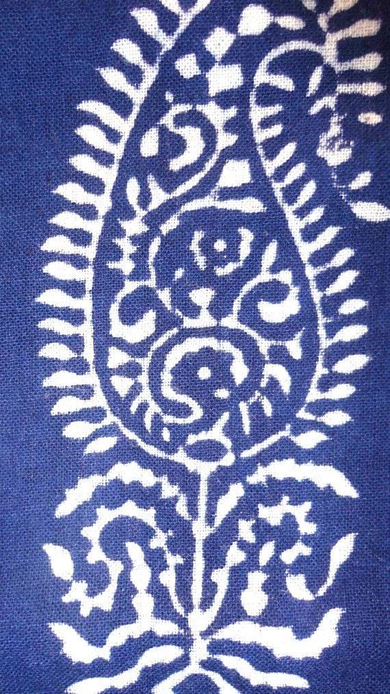 Beautiful paisley block print jaipur cotton fat quarter fabric from India