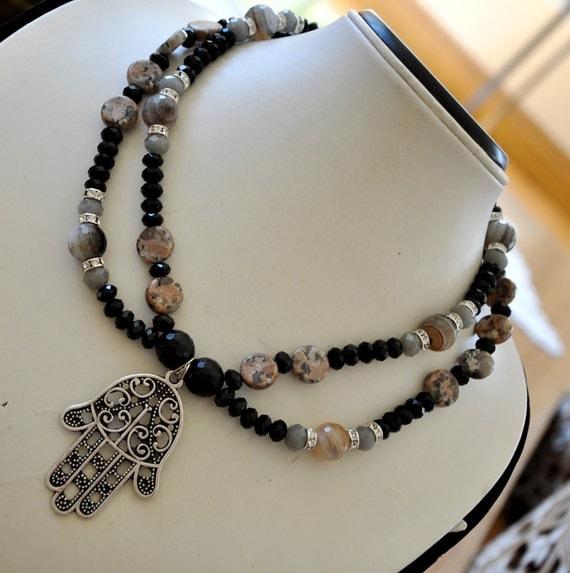 Elegant evening statement necklace with Hamsa Hand pendant