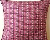 Decorative pillow pink purple geometric pattern