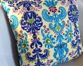 Design pillow blue damask
