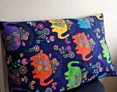 Design pillow in orange yellow green navy blue elephant pattern in velvet and cotton