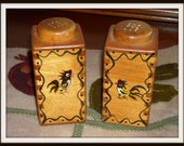 Vintage Rooster Salt and Pepper Shakers, Woodpecker Brand, Handpainted, circa 1950s