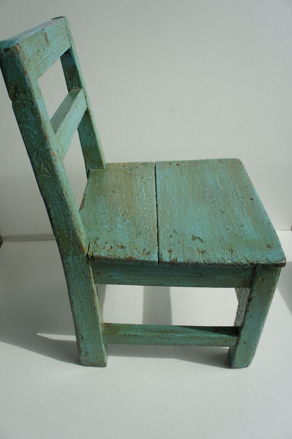 Rustic Vintage Green Painted Oak Childs Chair, primitive, 1940s, aqua, teal