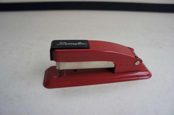 Mid Century Vintage Bright Red Metal Swingline Cub Stapler, 1950s