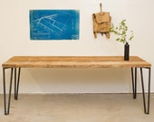 Dining Table - 6' Long - Reclaimed Wood and Solid Steel - Salvaged Pine