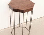 Side Table - Octagon Solid Walnut with Steel base