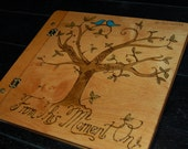 Custom Wood Book Cover - Family or Wedding Photo Album / Guestbook - Woodburned Tree of Life with Lovebirds
