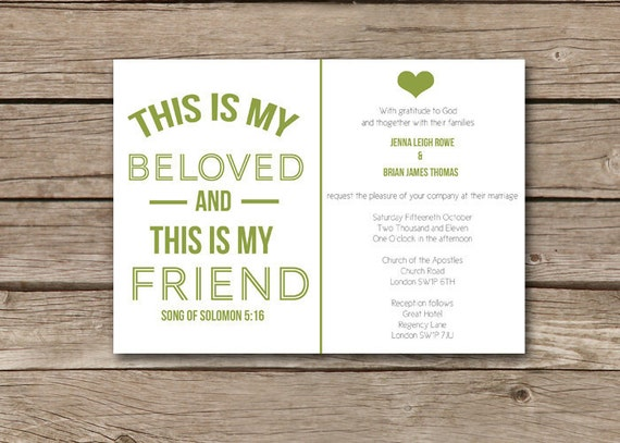 Christian Wording For Wedding Invitations: Items Similar To Modern Christian Wedding Invitation