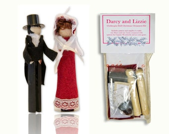Jane Austen Clothespin Doll Ornament Kit: Elizabeth Bennet and Mr. Darcy