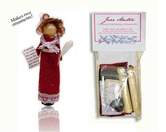 Jane Austen Clothespin Doll Ornament Kit (Set of 2)