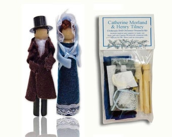 Jane Austen Clothespin Doll Ornament Kit: Henry Tilney and Catherine Morland