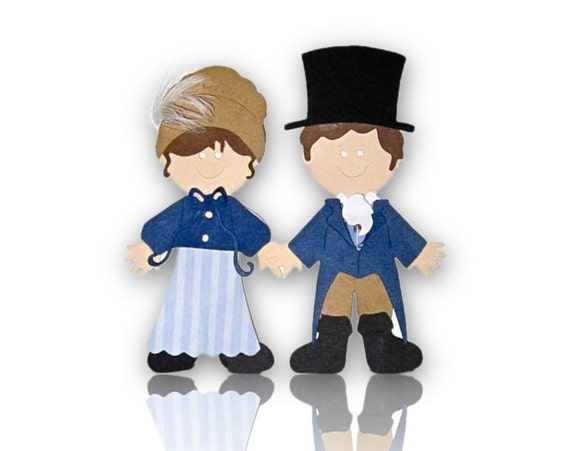 Jane Austen Pride and Prejudice Lizzy and Mr. Darcy Scrapbook Die Cut with costume options
