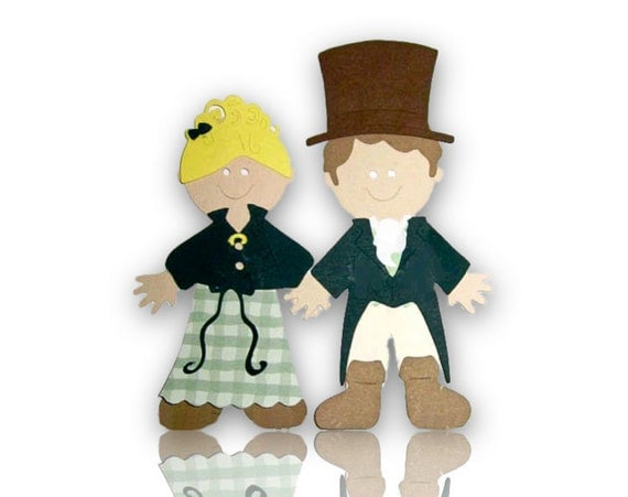 Jane Austen Emma and Mr. Knightley Scrapbook Die Cut with costume options