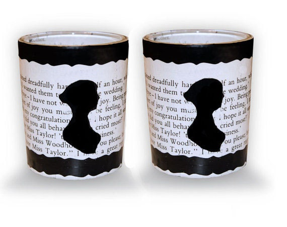 Jane Austen Upcycled Votive Candles Pair with Silhouette