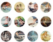"Digital Collage Sheet - Vintage Mermaid Images - 1"" Circles (42 images) for Bottle Caps,  Pendants, Charms & more"