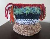 Child-Adult Knit Ponytail Hat in Brown, Blue, White, Red and Green