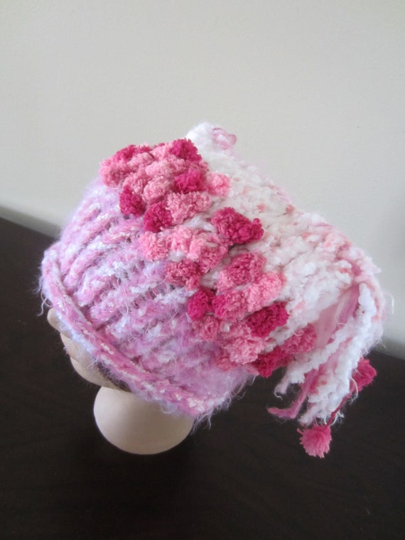 Child-Adult Knit Ponytail Hat in White and Pinks