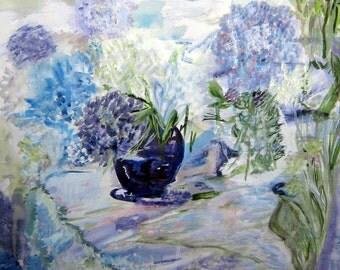 Floral Watercolor, Lavender Blue Hydrangeas, Impressionism, Blues Lavenders, Full Frame, Kathleen Leasure From Glen To Glen