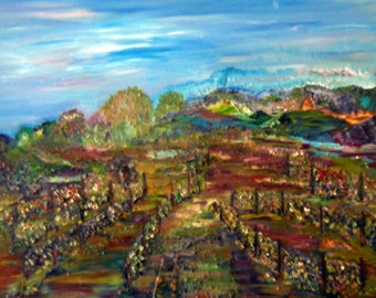 Vineyards of Leona, Abstract Landscape, Panoramic Vineyard, Oregon Landscape, Kathleen Leasure, FromGlenToGlen