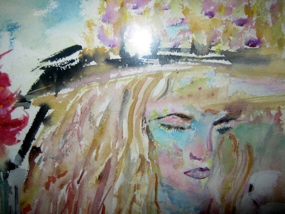 Final Reserve Payment Listing for Susan, French Girl Dreaming Watercolor Impressionism, Portrait, Kathleen Sonya Leasure From Glen To Glen
