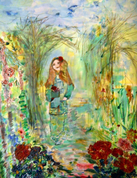 Composers Muse, Sewn Watercolor, Original Garden Lady, Song Inspiration, Woodland Fantasy Art, Kathleen Leasure,Fromglentoglen, 22 x 29.5 in