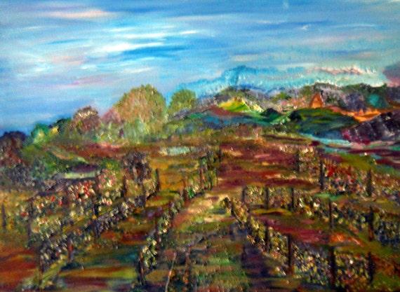 Vineyards of Leona, Abstract Landscape, Panoramic Vineyard, Oregon Landscape, Kathleen Leasure, FromGlenToGlen