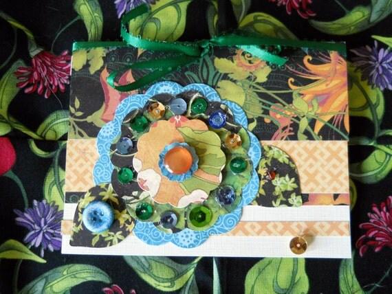 Sparkle Flower Card, Handmade Card, Mixed Media Art Card, 5.5 x 4.5