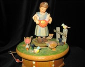 Never on Sunday, Anri hand carved wooden music box w. Thorens, 28 note movement