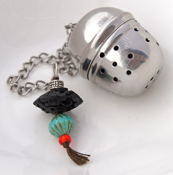 Carved Ebony Stainless Steel Tea Infuser Strainer Ball Zen Asian Tassle