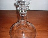 Mid Century Pressed Glass Clear Genie Bottle Decanter with Stopper
