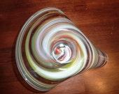 Swirl Glass Candle Holder or Bud Vase - Mid Century Hand Blown Art