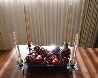 Black Punched Metal Centerpiece  - Mid Century Tray with Candle Holders