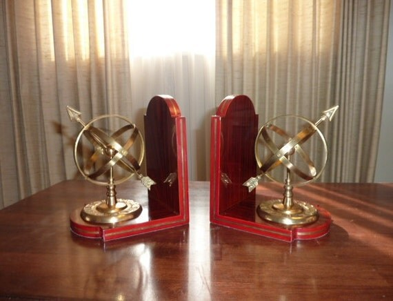 Armillary Sphere Bookends - Great Mid Century Brass and Wood Pieces