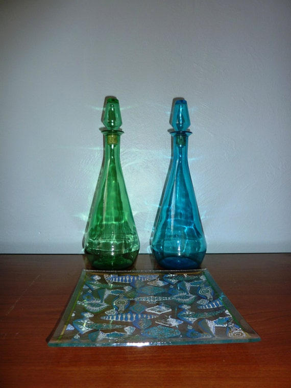 Green Mid Century Pressed Glass Decanter