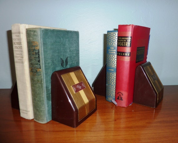 Set of Two Greek Key Plastic Expandable Bookends