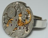 Steampunk Watch Movement Ring - Silver Adjustable Ring Band