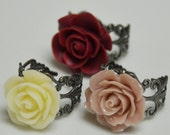Victorian Rose Ring with Antique Silver Adjustable Ring - Pick your color