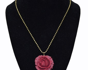 Red Rose Necklace with Ball Chain