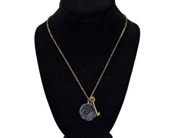 Secret Key & Dark Rose Necklace