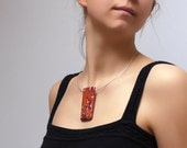 Original Art Pendant Necklace - OOAK Polymer Clay Necklace - Tangerine, Orange, Crimson, Pearl  - Orange Revolution