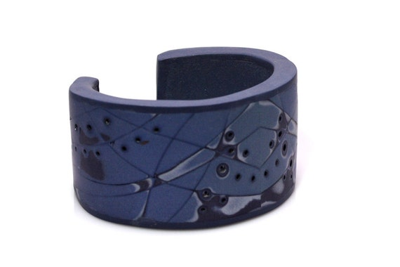 Blue Cuff Bracelet, OOAK Polymer Clay Cuff, Abstract Jewelry