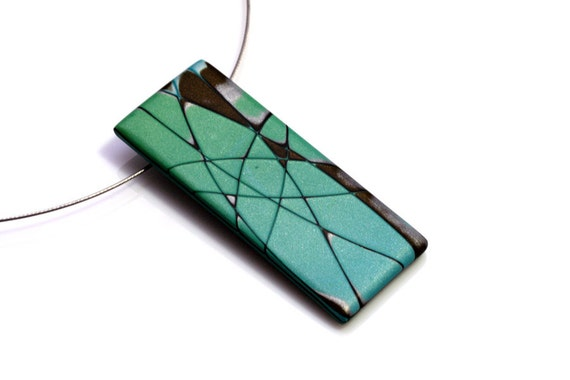 Modern Polymer Clay Pendant  Necklace In Aqua, Silver And Brown