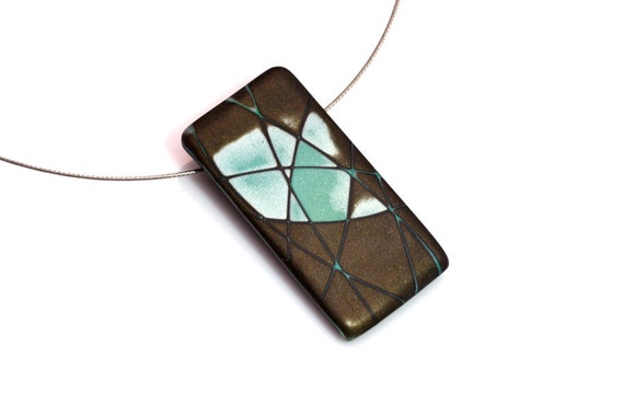 Modern Polymer Clay Pendant  Necklace In Brown, Aqua And Silver