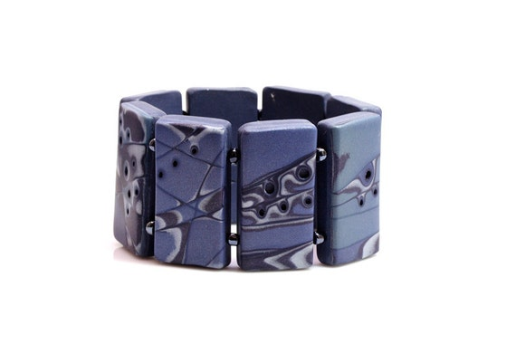 Original Polymer Clay Art  Bracelet In Blue, Elastic Bracelet